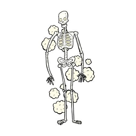 dusty: retro comic book style cartoon dusty old skeleton Illustration