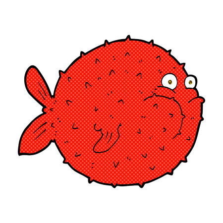 puffer: retro comic book style cartoon puffer fish