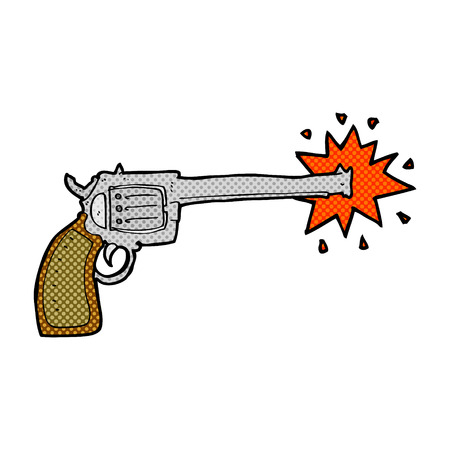 six shooter: retro comic book style cartoon firing gun