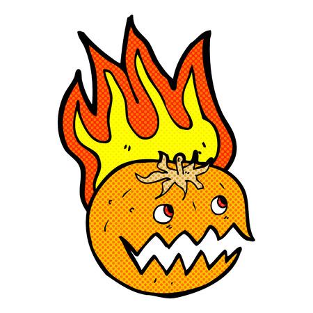 flaming: retro comic book style cartoon flaming pumpkin Illustration