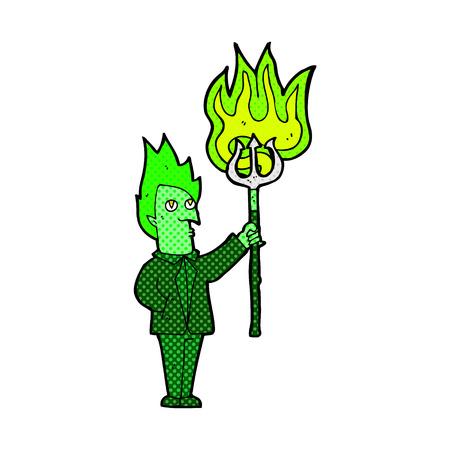 pitchfork: retro comic book style cartoon devil with pitchfork