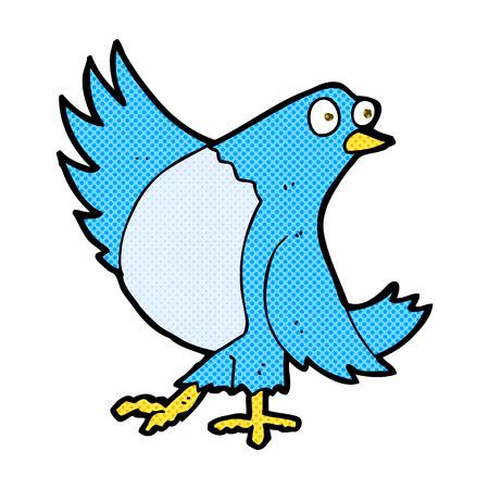 bluebird: retro comic book style cartoon dancing bluebird