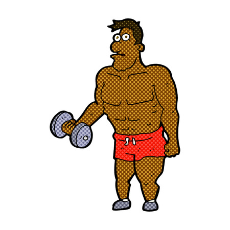 lifter: retro comic book style cartoon man lifting weights