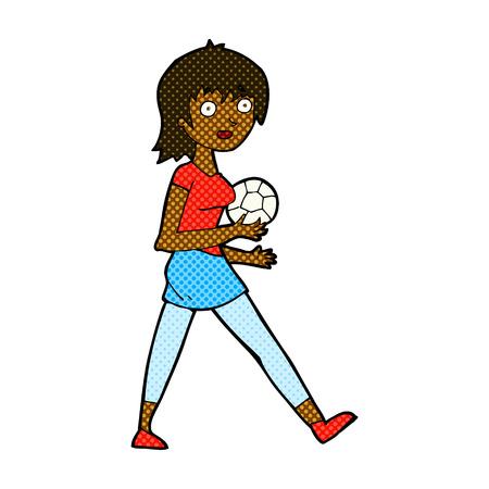 retro comic book style cartoon soccer girl