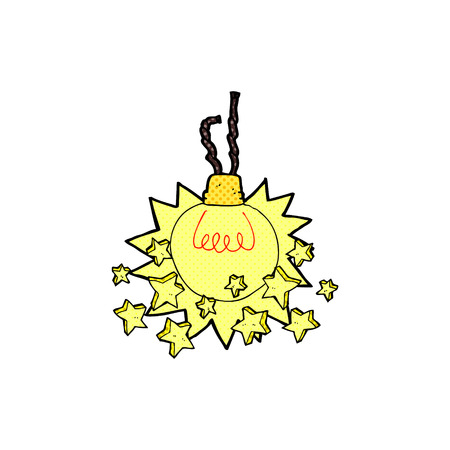 shining light: bombilla de la historieta del estilo del libro brillante c�mico retro