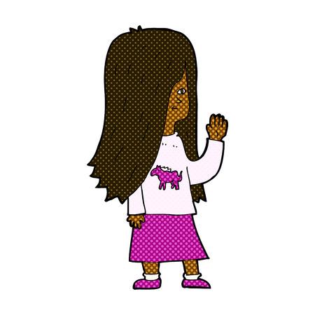 girl shirt: retro comic book style cartoon girl with pony shirt waving