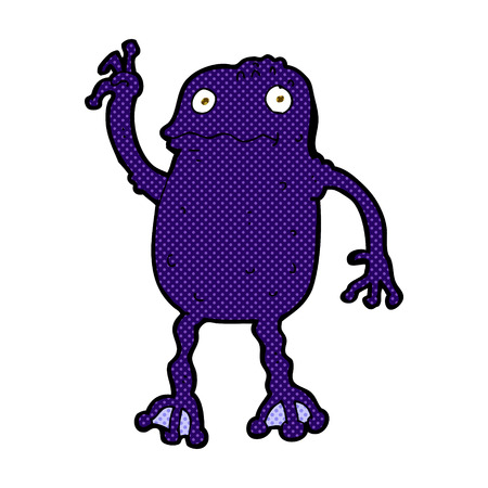 crazy frog: retro comic book style cartoon poisonous frog