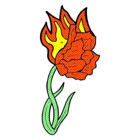 flaming: retro comic book style cartoon flaming flower