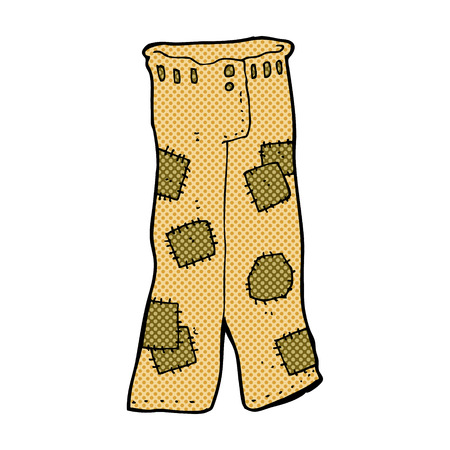 repaired: retro comic book style cartoon patched old pants