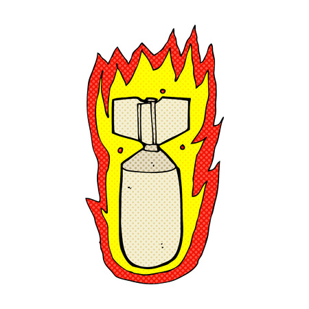 flaming: retro comic book style cartoon flaming bomb