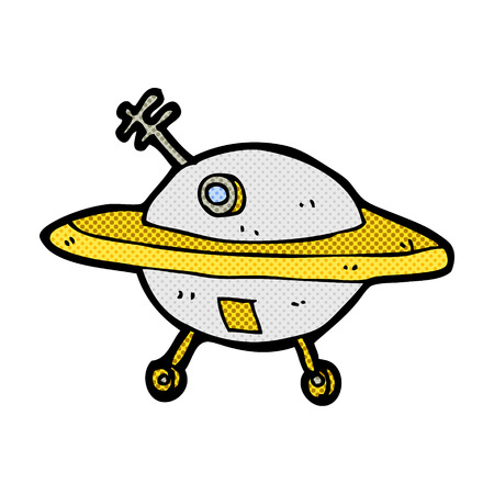 flying saucer: retro comic book style cartoon flying saucer Illustration