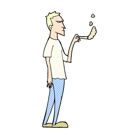 smoker: retro comic book style cartoon annoyed smoker