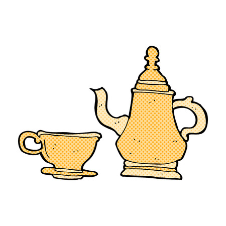 retro comic book style cartoon coffee pot and cup