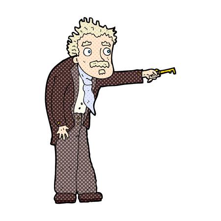 tremante: retr� stile fumetto cartone animato uomo tremante di sblocco chiave