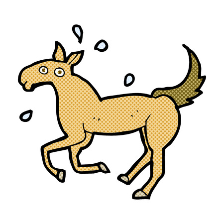 sweating: retro comic book style cartoon horse sweating