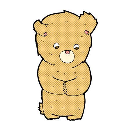 retro comic book style cartoon shy teddy bear