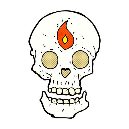 mystic: retro comic book style cartoon mystic skull
