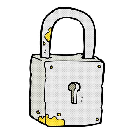 rusty padlock: retro comic book style cartoon rusty lock