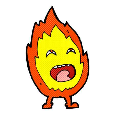 comic book character: retro comic book style cartoon flame character
