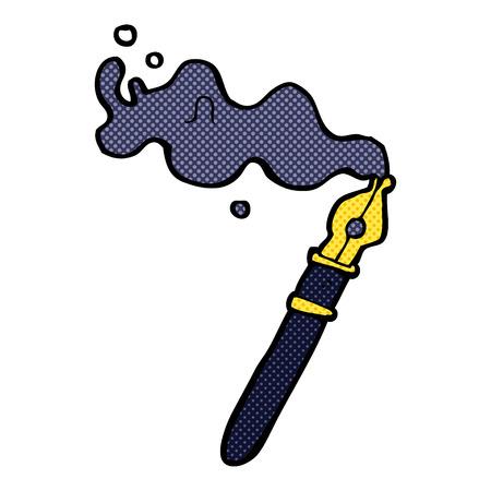 retro comic book style cartoon fountain pen Vector