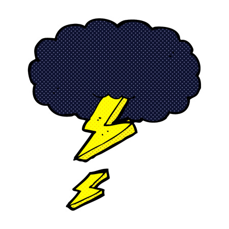 retro comic book style cartoon thundercloud Vector