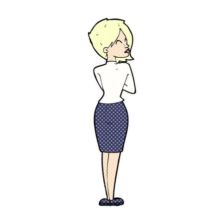 ignoring: retro comic book style cartoon businesswoman ignoring