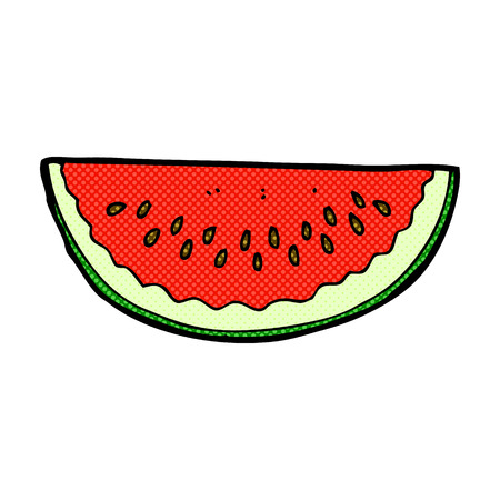 watermelon slice: retro comic book style cartoon watermelon slice Illustration