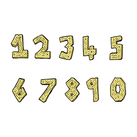 retro comic book style cartoon wooden numbers Illustration