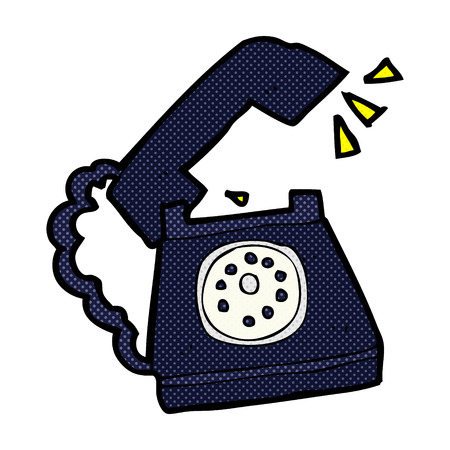 ringing: retro comic book style cartoon ringing telephone