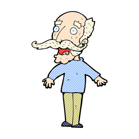 gasp: retro comic book style cartoon old man gasping in surprise Illustration