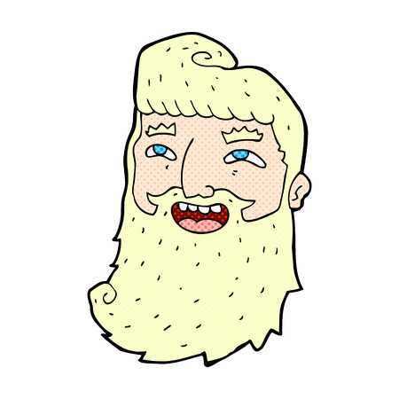 bearded: retro comic book style cartoon laughing bearded man