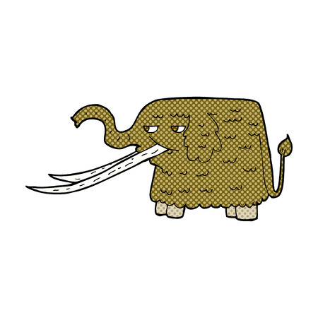 woolly: retro comic book style cartoon woolly mammoth