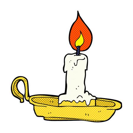 retro comic book style cartoon old candlestick Vector