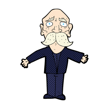 disappointed: retro comic book style cartoon disappointed old man