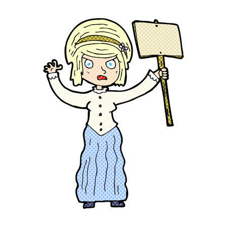 protesting: retro comic book style cartoon victorian woman protesting Illustration