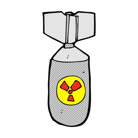 nuclear bomb: bomba nuclear de dibujos animados retro del estilo del c�mic