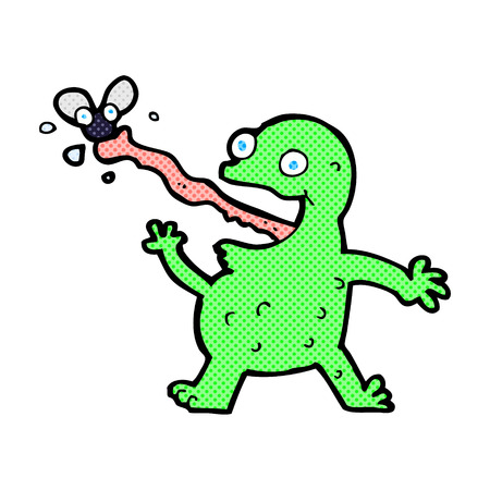catching: retro comic book style cartoon frog catching fly