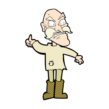 patched: retro comic book style cartoon angry old man in patched clothing