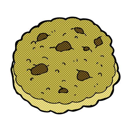 chocolate chip: chocolate chip cookie retro comic book style cartoon