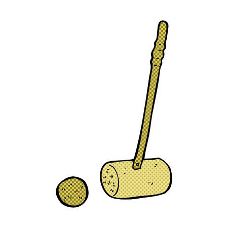 mallet: carton croquet mallet and ball Illustration