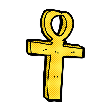 ankh: retro comic book style cartoon ankh symbol Illustration