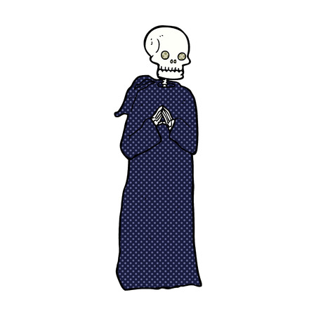 robe: retro comic book style cartoon skeleton in black robe