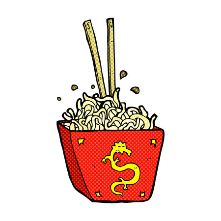 chinese takeout box: retro comic book style cartoon noodles in box