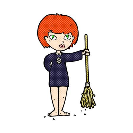 wicca: retro comic book style cartoon pretty witch girl Illustration