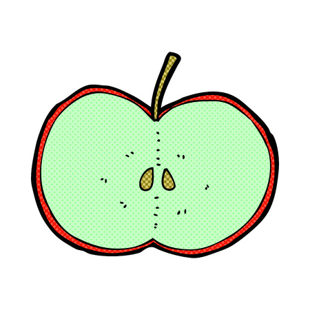 sliced apple: retro comic book style cartoon sliced apple