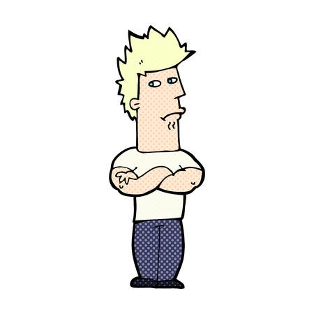 sulking: retro comic book style cartoon man sulking Illustration