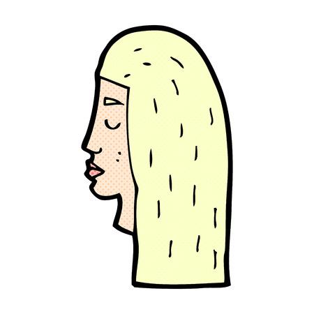 rostro de mujer de perfil: de dibujos animados retro del estilo del c�mic perfil rostro femenino Vectores