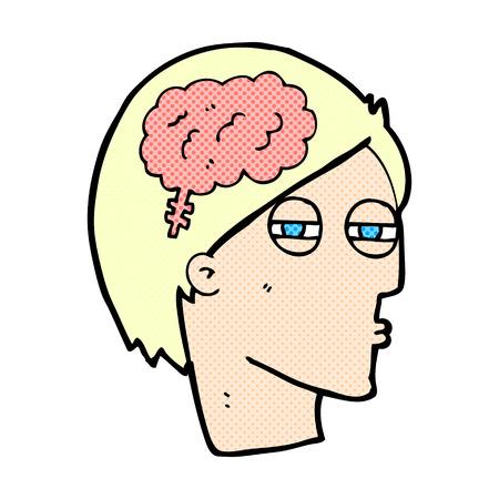 carefully: retro comic book style cartoon man thinking carefully