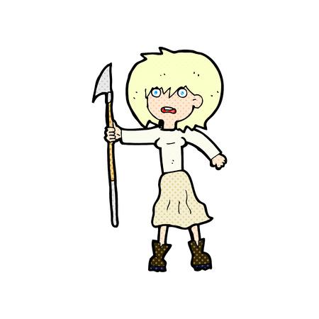 harpoon: retro comic book style cartoon woman with harpoon