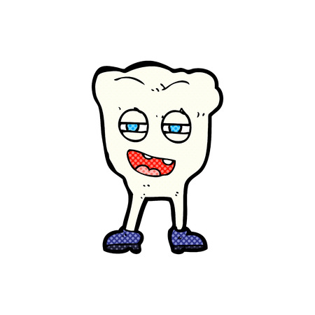 comic book character: retro comic book style cartoon funny tooth character